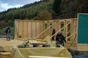 wooden frame walls being erected