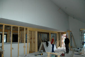 plasterboard on, wiring started